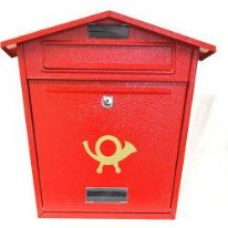 Aboria Galvanised Post Box - Red